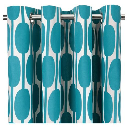 Tesco Retro Print Eyelet Curtains W168xL183cm (66x72
