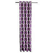 Tesco Retro Print Unlined Eyelet Curtains - Plum