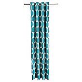 Tesco Retro Print Unlined Eyelet Curtains - Teal