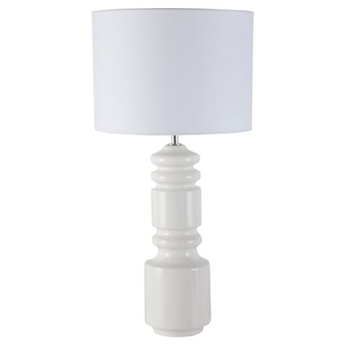 Tesco Lighting Totem Ceramic Table Lamp, Cream