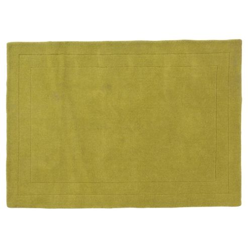 Tesco Rugs Plain Wool Rug Green 160X230Cm
