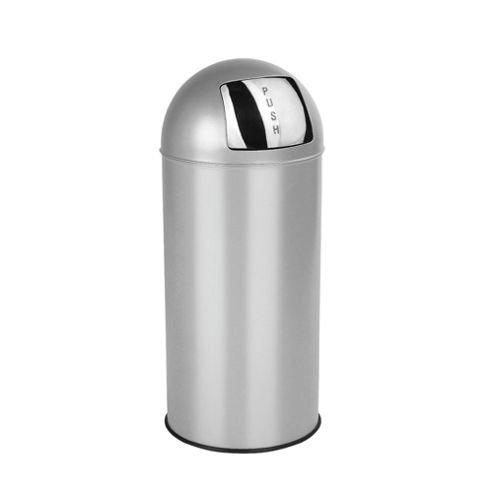 Tesco 30L Stainless Steel Silver Push Top Open Bin