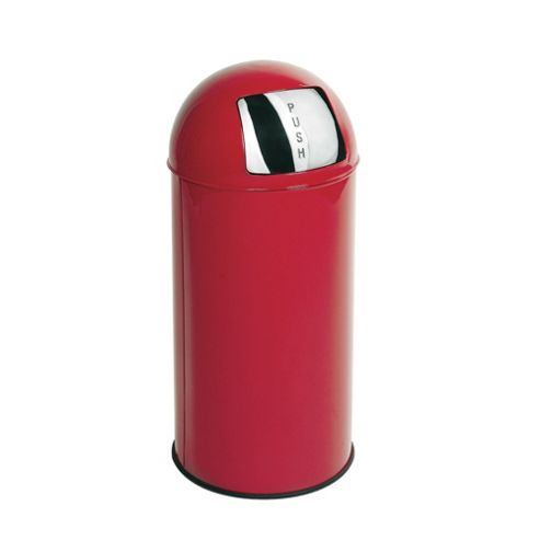 Tesco 30L Stainless Steel Red Push Top Open Bin