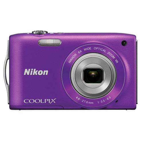 Nikon S3300 Digital Camera, Purple, 16MP, 6x Optical Zoom, 2.7 inch LCD Screen