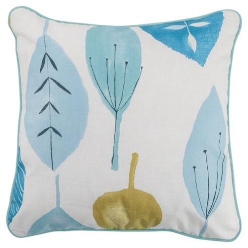 Tesco Cushions Watercolour Leaf Cushion, Soft Teal