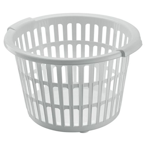 Tesco Basics Plastic Laundry Basket, White