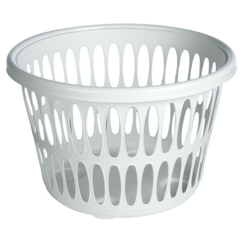 Tesco Basics 28L Plastic Laundry Basket, White