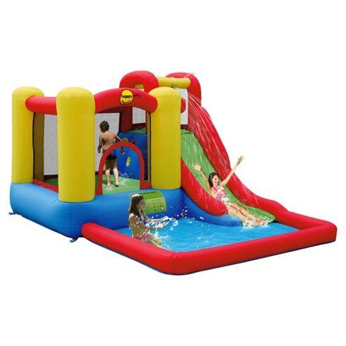 Buy action air jump splash adventure zone bouncy castle for Garden pool tesco