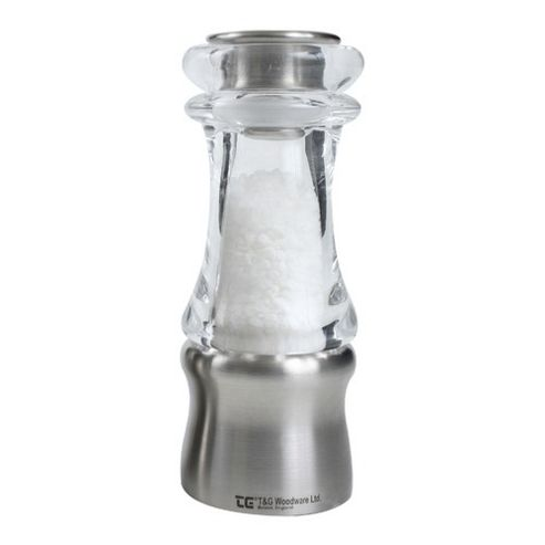 T&G Woodware Crushgrind 150mm Acrylic and Brushed Stainless Steel Classic Salt Mill, Clear
