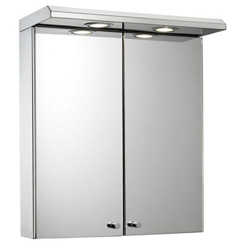 Croydex Shire Double Door Stainless Steel Illuminated Cabinet with Charger socket