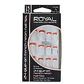 Royal 24 Glue-On French Neon Nail Tips -Orange Neon