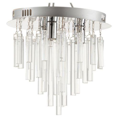 Tesco Lighting Savoy Glass Cylinder Drop Ceiling Light Chrome & Clear