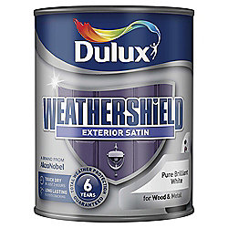 Dulux Weathershield Exterior Satin Paint, Pure Brilliant White, 750ml