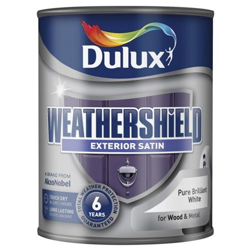Dulux Weathersheild Exterior Satin Paint, Pure Brilliant White, 750ml