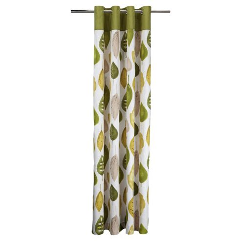 Tesco Watercolour Leaf Lined Eyelet Curtains W168Xl137Cm (66X54