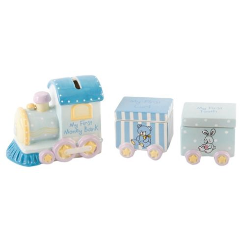 Ceramic Train Set With 1St Tooth & 1St Curl Carriages