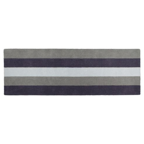 Tesco Vertical Stripe Runner, Charcoal 67x200cm