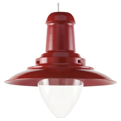 Tesco Lighting Fishermans Spun Metal Pendant, Light Red