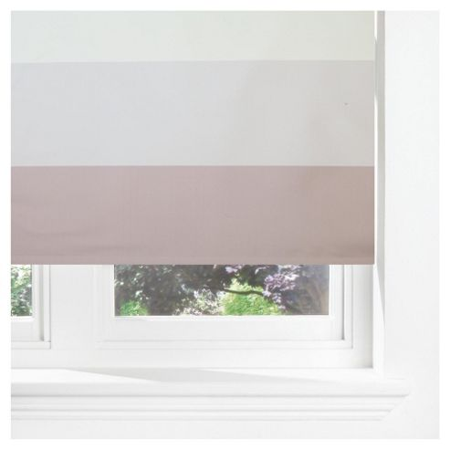 Horizontal Stripe Blackout Roller Blind 180cm Mocha