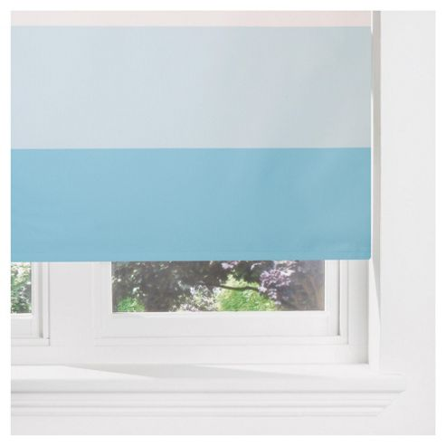 Sunflex Horizontal Stripe Blackout Roller Blind 120cm Duck Egg