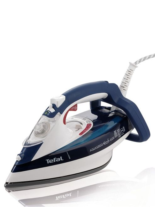 Tefal FV5370 anti-drip Iron with Ceramic Plate - White/Blue