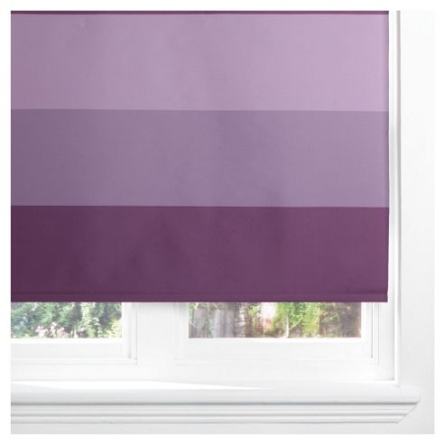 Tesco Horizontal Stripe Blackout Roller Blind 60cm Plum