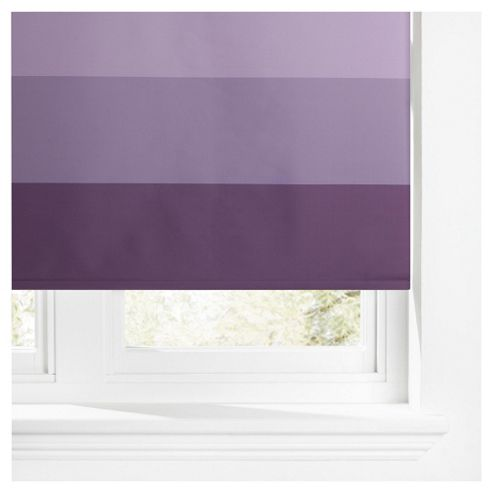 Horizontal Stripe Blackout Roller Blind 120cm Plum