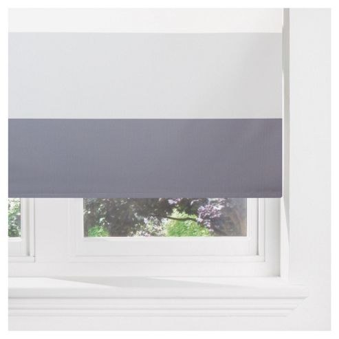Sunflex Horizontal Stripe Blackout Roller Blind 90cm Charcoal