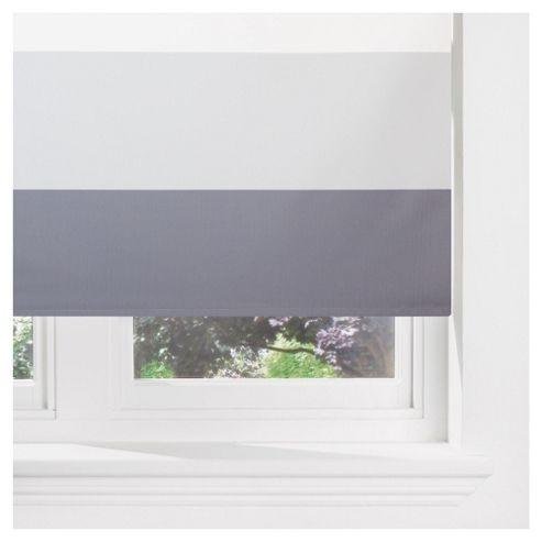 Sunflex Horizontal Stripe Blackout Roller Blind 120cm Charcoal