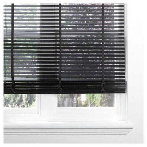 Wood Venetian Blind W150 x Drop 160cm, 35mm Slats, Black