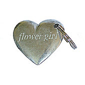 Pewter Wedding Flowergirl Heart Keyring