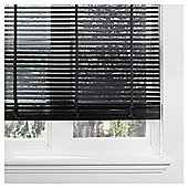 Wood Venetian Blind W60cm x Drop 160cm, Slats 50mm, Black