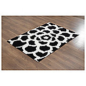 Tesco Rugs Starburst Rug Black / White 120X170Cm