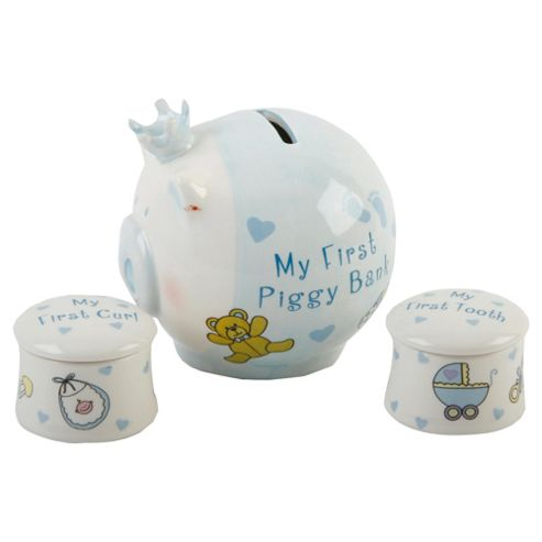 Ceramic My First Piggy Bank & My First Curl & Tooth Boxes Blue