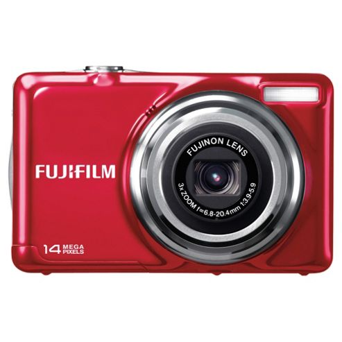 Fuji JV300 Digital Camera, Red, 14 MP, 3x Optical Zoom, 2.7 inch LCD screen