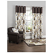 Tesco Jasmine Blossom Lined Eyelet Curtains - Mocha