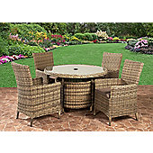 Royalcraft Sahara 4 Seater Carver Dining Set Natural Weave Effect