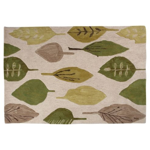 Tesco Rugs Watercolour Leaf Rug Green 120X170Cm