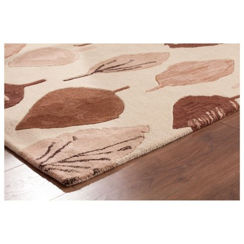 Tesco Rugs Watercolour Leaf Rug Natural 120X170Cm