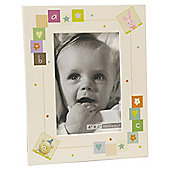 "6""x4"" Baby Photo Frame Teddy, Rabbit & Giraffe, Oatmeal"