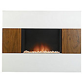 Nexus electric fire, walnut & white
