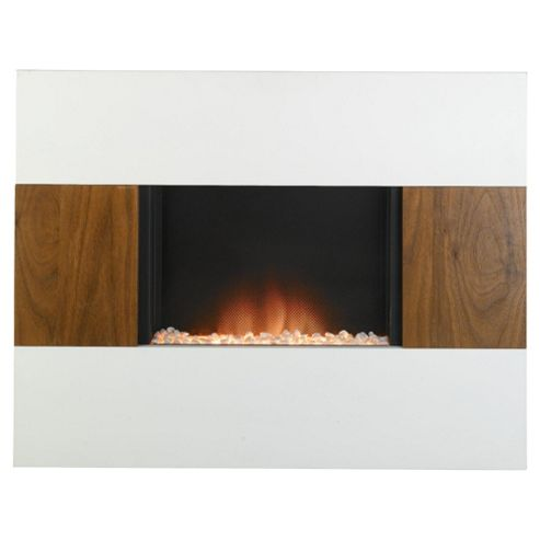 Nexus electric fire, walnut and white