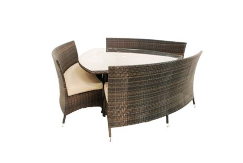 Maze Rattan Dallas 6 Seater Triangular Dining Set - Grey