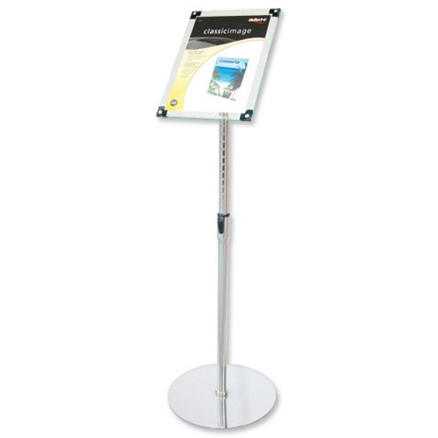 Deflecto Sign Holder with Bevel Magnetic Cover Floor-Standing Heavyweight H680-1060mm A4 Ref DE790845