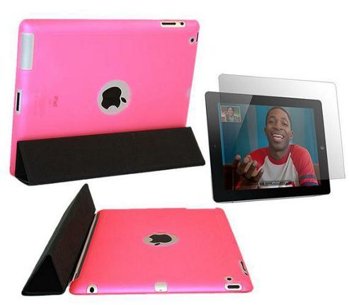 Pink Smart ProGel Skin Case with Logo Cut Out & Anti Glare Matt Screen Protector - Apple iPad 2 16gb 32gb 64gb (Works with Apple Smart Cover)