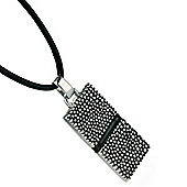 Mens Fred Bennett Textured Silver Dog Tag Necklace