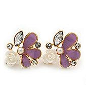 Lavender Enamel Diamante 'Rose' Stud Earring In Gold Plating - 2cm Diameter