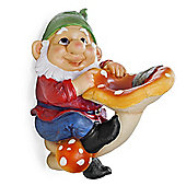 Saxon the Large Garden Gnome on Mushroom Ornament for Tree or Wall Mount