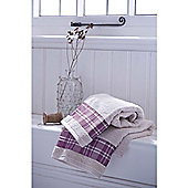 Catherine Lansfield Home Cosy Corner Swing Check Border 450gsm Bath Towel Cream & Mulberry