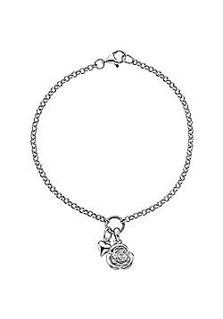 Lily & Lotty Sterling Silver 0.01ct Diamond ROSE Bracelet